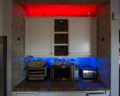 Dual Row LED Light Strips with Multi Color + White LEDs - LED Tape Light with 18 SMDs/ft., 3 Chip R: Installed In Kitchen Bread Area & Above Cabinets with Glass Decoration