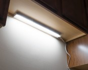 "Dimmable Under Cabinet LED Lighting Fixture w/ Rocker Switch - 16.5"" - 440 Lumens: Shown Installed Over Kitchen Sink"