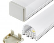 Klus B4574 - GIP series Surface Mount Anodized Aluminum LED Profile Housing: Shown  Strip Installed with Lenses & End Caps (sold separately)