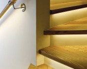 PAC-MDF series Angled Corner Mount MDF Klus LED Profile Housing Installed in Staircase