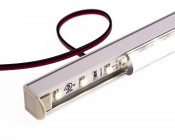 REGULOR ZWK series Surface Mount Anodized Aluminum Klus LED Profile Housing shown with hole drilled for power wire