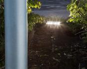 70 Watt Knuckle-Mount LED Flood Light: Turned On at Dusk Shinning on Flag Pole