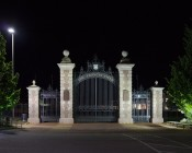 100 Watt High Power LED Flood Light Fixture in Natural White: Shown Illuminating Sports Field Gates.