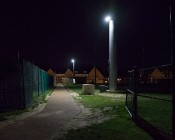 "LED Work Light - 8"" Square - 30W: Shown Installed Over Walking Path."