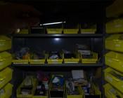 LarryC LED Work Light - NEBO Flashlight: Showing Beam Angle In Hardware Cabinet.