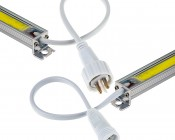 COB LED Linear Light Bar Fixture - 1100 Lumens: Close Up of Ends Showing Connectors on Each Side