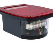Multi-Function LED Truck Trailer Tail Lamp with License Plate Light - Universal Mount Combo Box LED Stop Turn Tail Reverse Light