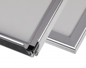 Ultra-Thin LED Light Box w/ Snap-Open Frame - Close Up of Open and Closed Snap Frame