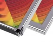 Ultra-Thin LED Light Box w/ Snap-Open Frame and Custom-Printed Luxart® Graphic - Close Up of Open and Closed Snap Frame