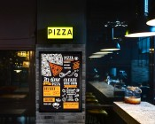 Ultra-Thin LED Light Box w/ Snap-Open Frame and Custom-Printed Luxart® Graphic: Illuminated Inside Bar / Pizza Restaurant