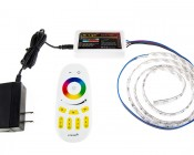 Smartphone or Tablet WiFi Compatible RGB Multi Zone Controller w/ RF Remote - Dynamic Color-Changing Modes: Shown Connected To CPS Power Supply And RGB LED Strip (Sold Separately).