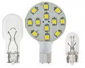 921 LED Bulb, 12 LED Disc Type Wedge Base LED Bulb: Front View With Size Comparison To 194 & 921 Stock Bulbs