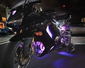 Customer's Kawasaki 636 Motorcycle with UV LED Light Strips for Accent