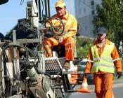 """SAE Class 1 LED Strobe Beacon - 6-1/4"""" Amber LED Multi Mode Strobe Light Beacon: Installed On City Street Cleaning Cart"""