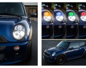 LED Angel Eye Headlight Accent Lights - COB: Shown Installed Behind Mini Cooper Projector Headlight Lens And On In Amber, Blue, Green, Red, And Cool White.
