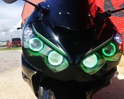 LED Angel Eye Headlight Accent Lights - COB: Shown Installed On Yamaha R1 Motorcycle.