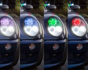 LED Angel Eye Headlight Accent Light Kits: Shown On And Installed In Headlight Housing In Purple, Blue, Green, And Red Color Modes.