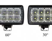 """LED Auxiliary Light - 6"""" Rectangular 24W Heavy Duty Off Road Driving Light: Compare View 60°vs 30°"""