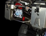 Bolt Beam 10mm LED Light Attached to Licence Plate on BMW Motorcycle