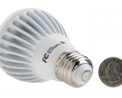 R20 LED Bulb, 7W: Back View With Size Comparison