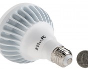 BR30 LED Bulb, 15W: Back View With Size Comparison