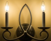LED Filament Bulb - B10 LED Candelabra Bulb with 4 Watt Filament LED - Dimmable: Shown On And Installed In Wall Sconce.