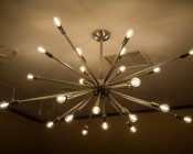 LED Filament Bulb - G14 LED Candelabra Bulb with 4 Watt Filament LED - Dimmable: Shown Installed In Sputnik Type Ceiling Fixture On and Dimmed.