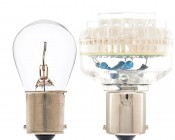 1156 LED Bulb with 1156 Incandescent Bulb for Comparison
