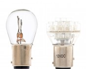 1157 LED Bulb with Incandescent Bulb for Comparison