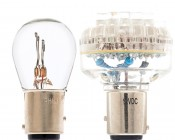 1157 LED Bulb with 1157 Incandescent Bulb for comparison