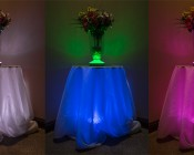 """LED Centerpiece Light - 6"""" Rechargeable Battery Powered Color Changing LED Vase Light w/ Remote: 2 Separate Units On, Showing Different Color Modes. From Left Colors Are: White, Green And Blue, And Pink."""