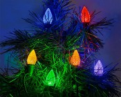 C7 LED Bulbs - Diamond Faceted Replacement Christmas Light Bulbs: Installed on Light String on Tree