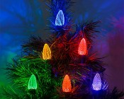 C9 LED Bulbs - Diamond Faceted Replacement Christmas Light Bulbs: Installed on Light String on Tree