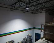 150 Watt High Power LED High Bay Light Fixture: High Bay On Installed On Warehouse Ceiling.