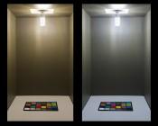 LED Corn Light - 105W Equivalent Incandescent Conversion - E26/E27 Base: Shown On In Natural White (Left) And Warm White (Right).
