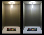 LED Corn Light - 140W Equivalent Incandescent Conversion - E26/E27 Base: Shown On In Natural White (Right) And Warm White (Left)