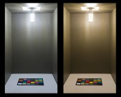 LED Corn Light - 160W Equivalent Incandescent Conversion - E26/E27 Base: Shown On In Natural White (Left) And Warm White (Right).