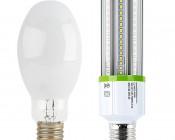 LED Corn Light - 220W Equivalent Incandescent Conversion - E26/E27 Base: Profile Comparison View