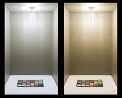 LED Corn Light - 220W Equivalent Incandescent Conversion - E26/E27 Base: Shown On In Natural White (Left), And Warm White (Right).