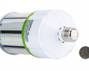 LED Corn Light - 390W Equivalent Incandescent Conversion - E26/E27 Base: Back View with Size Comparison