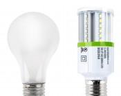 LED Corn Light - 50W Equivalent Incandescent Conversion - E26/E27 Base - 500 Lumens: Profile View with Size Comparison to Incandescent Bulb
