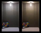 LED Corn Light - 50W Equivalent Incandescent Conversion - E26/E27 Base - 500 Lumens: Shown On In Natural White (Left) And Warm White (Right)