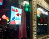 Custom LED Backlit Signs - Dimmable LED Panel Light - 2' x 2': Installed in Bar Window as Display Sign Lighting