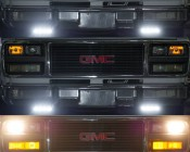 LED Daytime Running Light Kit with Dimming Function: Shown Installed On A Van. Showing Ignition On (Top), Running Lights On (Middle), And Headlights On (Bottom).