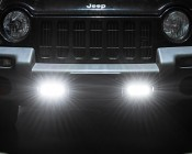 LED Daytime Running Light Set - Bottom Mount, 3W: Shown On And Installed On Jeep.