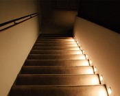 LED Step Lights - High Output Rectangular Deck / Step Accent Light - 12V or 120V: Installed In Outdoor Stairwell