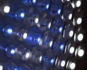 Underexposed closeup of dome light showing blue and white LEDs