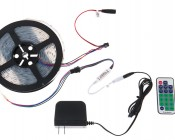 SWDC series Dream-Color Flexible RGB LED Strip - 12 Volt DC: Shown Connected To Power Supply And LED Controller. (Accessories Sold Separately).