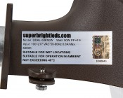LED Dusk to Dawn Security Light w/ Mast Arm - 50W - Natural White: Close Up of Label on Light