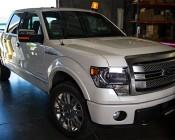 "6-3/4"" Amber LED Strobe Light Beacon with 15 LEDs - Magnetic Base: Shown On Full Sized Truck"